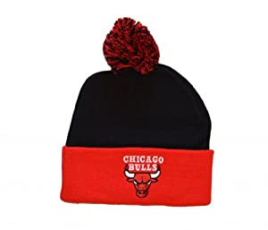 Adidas Chicago Bulls 2-Tone Red Cuff Beanie Hat with Pom - NBA Knit Cuffed Toque Cap