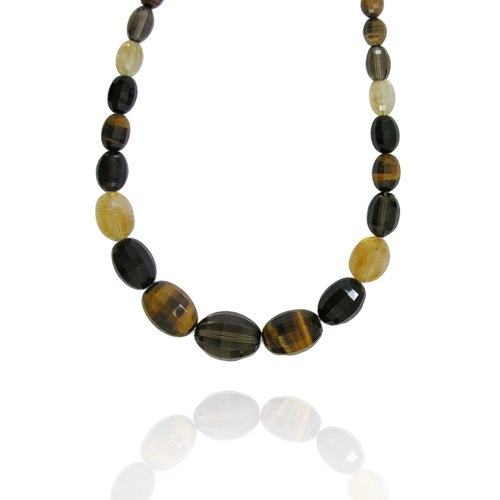 Smoky-Quartz Olive-Shaped 20x26mm with Multi Gemstone Bead Necklace, 18+2