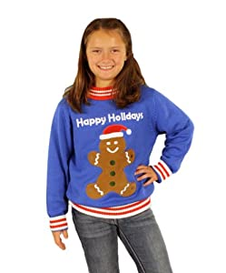 Children's Gingerbread Man Holiday Sweater in Blue - Ugly Christmas Sweater