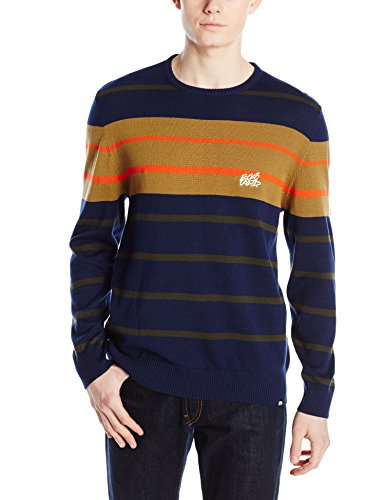 Ecko UNLTD Men's Stripe Crew Yarn Dyed Sweater, Deepest Blue, Medium