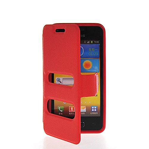 EVERGREENBUYING Cuoio Flip Custodia in pelle Protettiva Shell Case Cover per Samsung Galaxy S Advance I9070 Red