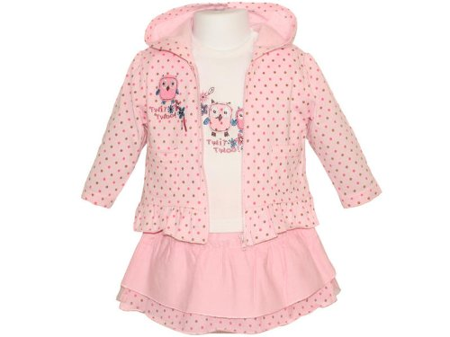 Pitter Patter Baby Girls Pink Jacket, Rara Skirt, Long Sleeved Top Outfit - 9-12 Months