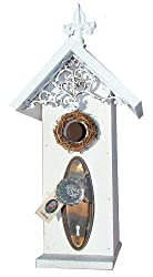 Birdhouse 22&quot; White Wedding Church Cedar Wood Antique Glass Door Knob Iron Oval Gable Outdoor/Indoor R-117