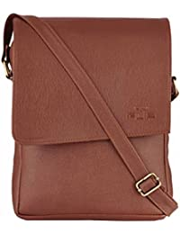 FLIP Brown Faux Leather Unisex Sling Bag