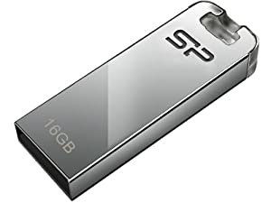 Silicon Power 16GB Touch T03 USB 2.0 Flash Drive, Chrome Silver (SP016GBUF2T03V1F)