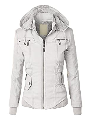 LL Womens Faux Leather Zip Up Bomber Jacket with Hood