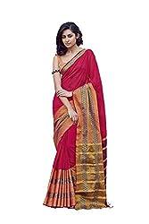AASRI Women Red Cotton Blend Printed Work Saree