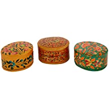 Jehlum View Crafts Handmade Paper Mache Decorative Hand Painted Floral Design Ring Boxes (5 Cm X 4 Cm X 3 Cm,...