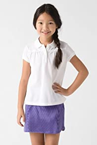 Girl's Short Sleeve Classic Pique Polo With Gathering Detail