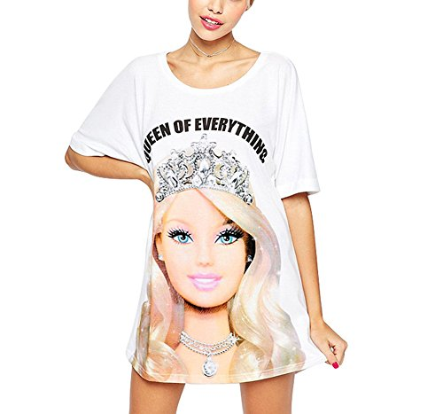 FV RELAY Women's Cute Barbie Printed Tunic Top Crew Neck T Shirt Dress (M)