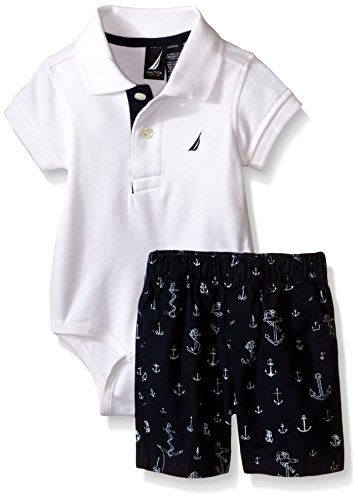 Nautica Baby Short Sleeve Polo Core Bodysuit Set, White, 6-9 Months