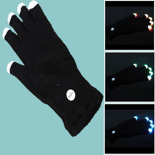 Water & Wood 1 Pair Of 6 Mode Led Rave Light Finger Lighting Flashing Glove Glow Mitt Disco Party + Black