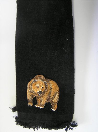 brown Grizzly Bear bath hand Towel black applique fingertip cabin