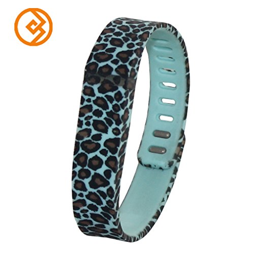 Bandcase New Style Lepoad Set Size Large L Or Size Small S Multicolor Leopard Combinational Replacement Bands With Metal Clasps For Fitbit Flex Only No Tracker/ Wireless Activity Bracelet Sport Wristband Fit Bit Flex Bracelet Sport Arm Band Armband (Teal,