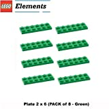 Lego Parts: Plate 2 x 6 (PACK of 8 - Green) by Parts - Plates
