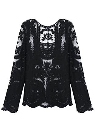 LookbookStore Women Semi Sexy Sheer Sleeve Embroidery Floral Lace Crochet Black Tee T-Shirt Top T shirt Size US 4