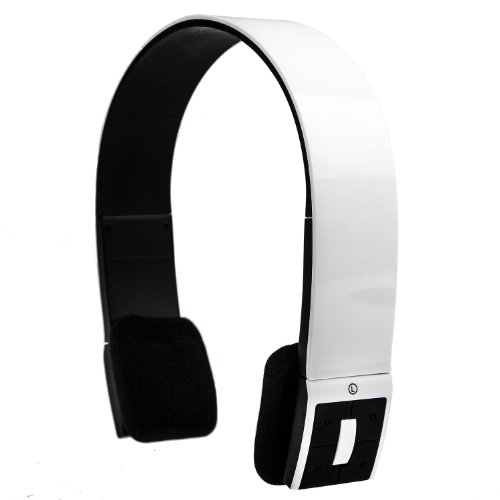 Orca R7 Bluetooth 3.0 Wireless Stereo Headphones / Headset With Microphone - Designer Headband - with USB Charger - Ideal for use with Apple iTouch, iPad, iPhone, HTC, Samsung Galaxy, Sony Xperia, Motorola Moto G, Google Nexus etc - Gloss White