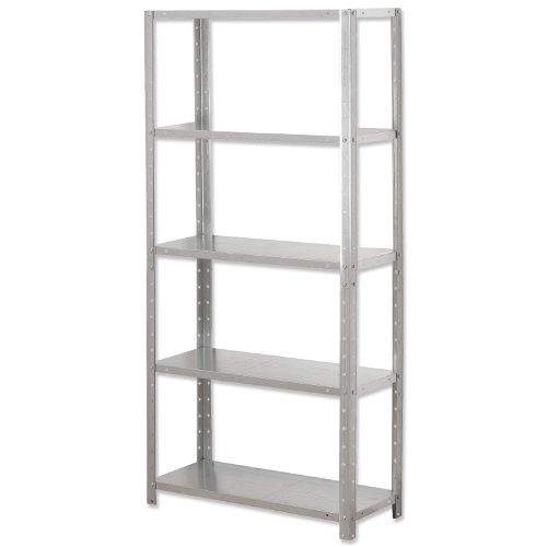 Influx Shelving Unit Bolted Lightweight 5 Shelves Load 5x 30kg W700xD300xH1500mm Galvanised