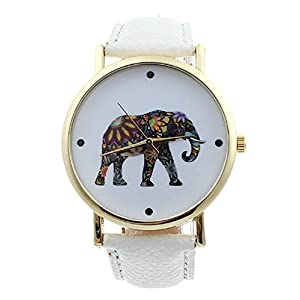 Tonsee Fashion Women Elephant Pattern Leather Analog Quartz Watch White by Tonsee