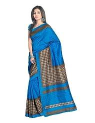 Fabdeal Bhagalpuri Silk Blue Printed Saree - B00IXT9OTI