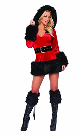 Women's Sexy Bad Santa Mini Dress Christmas Costume