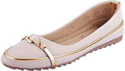 Veenu Womens Cream Synthetic Bellies - 37 EU