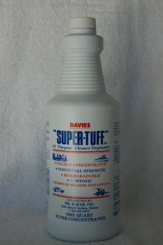 Super-Tuff very highly concentrated industrial cleaner degreaser. Cleans marine canvas, Awnings, Sunbrella, Vinyl upholstery, black streaks, mildew, grease, Truely the BEST degreaser around and still OSHA approved and biodegradable since 1989! Use it on your Tuffest stains.