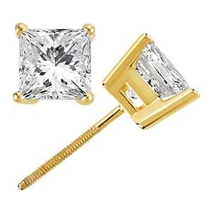 2.75 Ct. Princess Diamond Stud Earrings - 14k Yellow Gold - H-I, I1 - 2 and 3/4 Carat