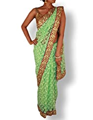 Coral Green Net Embroidery Saree With Silk And Cutwork Border