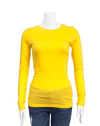 Yellow Ladies Crew Neck Long Sleeve T Shirt