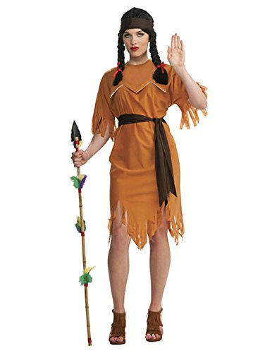 [HDE Women's Cute Sexy Pocahontas Native American Halloween Costume Party Outfit] (Indian And Pilgrim Costumes)