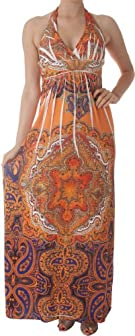Paisley Rhinestone Accented V-Neck Halter Maxi / Long Dress
