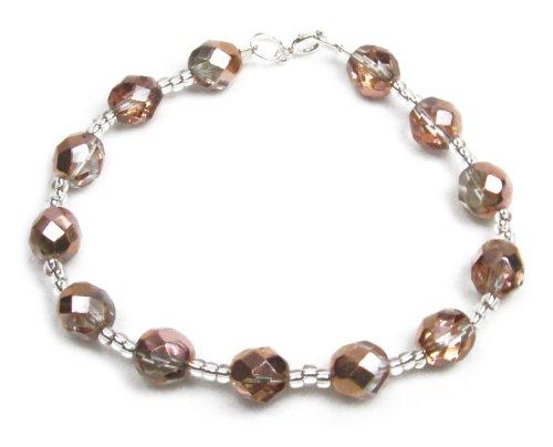 Copper Metallic Look Crystal Bracelet by Dragonheart - 925 sterling silver - 18cm