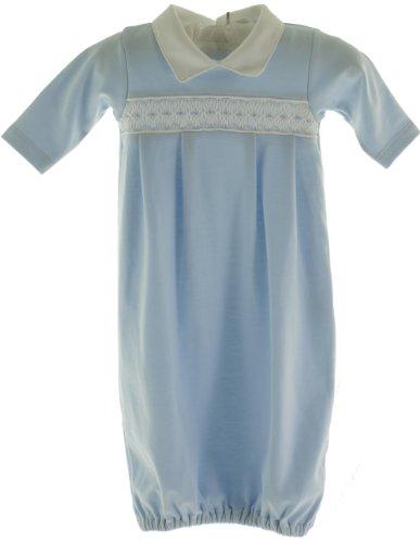 Kissy Kissy Infant Baby Boys Blue Smocked Take Home Layette Gown-Newborn