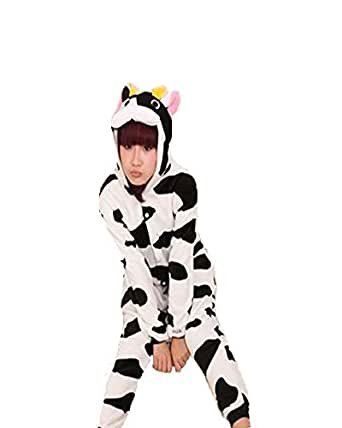Samgu-vache animal Pyjama Cospaly Party Fleece Costume Deguisement Adulte Unisexe (L(hauteur:170-180cm))
