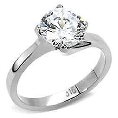 YourJewelleryBox STK104PB 4C SOLITAIRE SWIRL ENGAGEMENT SIMULATED DIAMOND RING STEEL NOT TARNISH