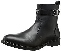 Armani Jeans Men\'s Leather Fashion Sneaker, Black, 41 EU/8 M US