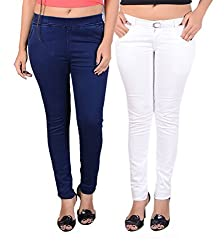Goodgift White & Blue Denim Lycra & Cotton Lycra Jeggings With Jeans