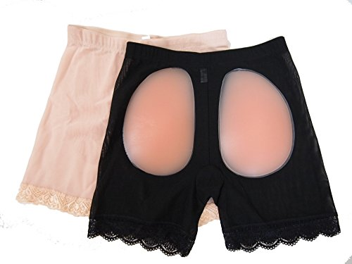 Nice ass on this Silicon pads girdle pants beige and Black 2 piece set hip-up shorts (L)