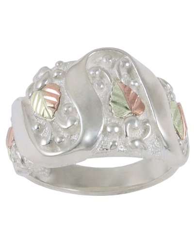 Womens 10k Yellow Gold, 12k Pink Gold, 12k Green Gold Grape Leaves and Grapes Black Hills Gold Motif Ring, Size 8