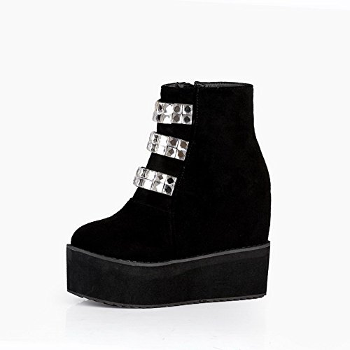 Voguezone009 Womens Closed Round Toe High Heel Frosted Pu Solid Boots With Glass Diamond, Black, 35