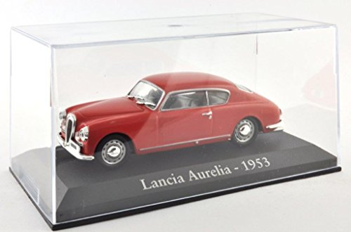 DieCast-Metall-Miniaturmodelle-Modellauto-143-Oldtimer-Klassiker-Lancia-Aurelia-Modell-rot-1953-Altaya-IXO-inklusive-Kunststoff-Vitrine