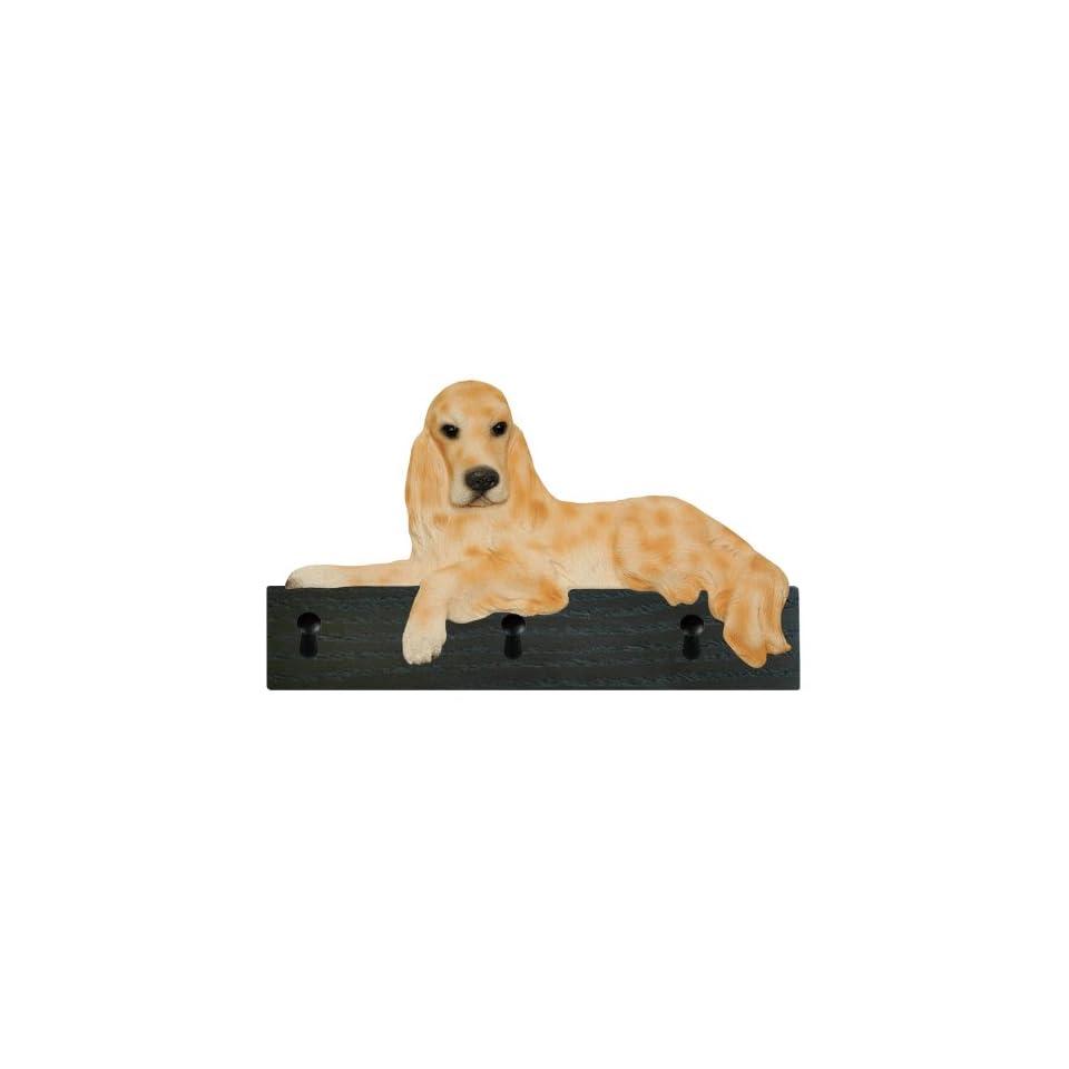Orange Belton English Setter Dog Figurine Key Ring and Leash Holder Gift Wall Peg Hook Hanger Rack