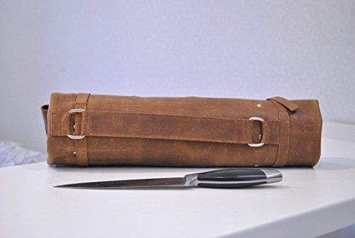 STYLISH RUSTIC VINTAGE LEATHER CHEF ROLL KINFE CASES BAG BROWN