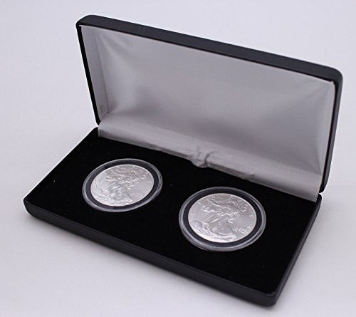 BLACK-LEATHERETTE-DISPLAY-BOX-FOR-2-COINS-IN-MODEL-I-AIRTITE-COIN-CAPSULES