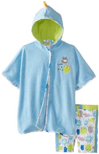 Absorba Baby-Boys Newborn Monster Robe And Short Swim Set, Blue, 6-9 Months front-697135