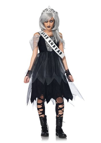 Leg Avenue Costumes 4Pc.Zombie Prom Queen Dress Sash Fingerless Gloves Tiara