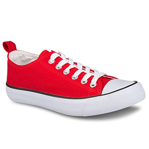 Twisted Womens Hunter Lo-Top Stylish Canvas Sneakers - RED, Size 7.5