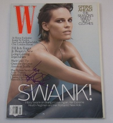 Hilary Swank Actress Sexy Signed Autographed W Fashion Magazine Loa