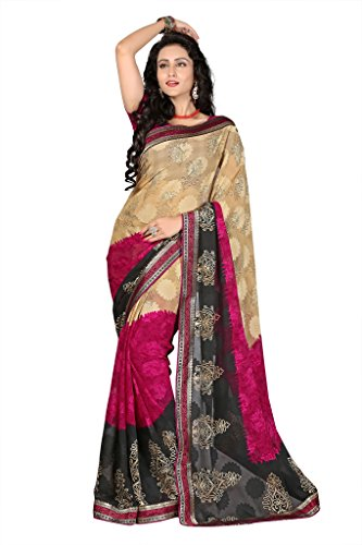GL Sarees Casual Lace border Fancy Printed Beige Brasso Saree For Women